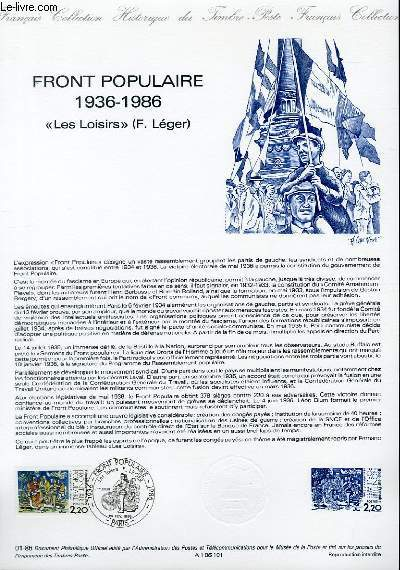 DOCUMENT PHILATELIQUE OFFICIEL N°01-86 - FRONT POPULAIRE 1936-1986