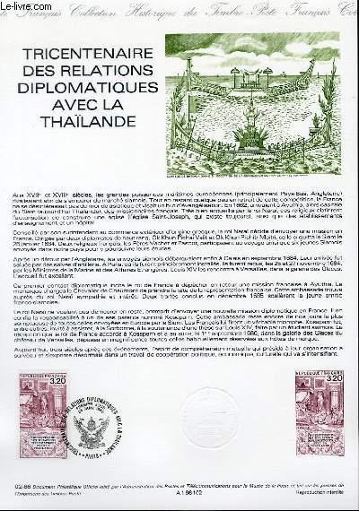 DOCUMENT PHILATELIQUE OFFICIEL N�02-86 - TRICENTENAIRE DES RELATIONS DIPLOMATIQUES AVEC LA THAILANDE (N�2393 YVERT ET TELLIER)