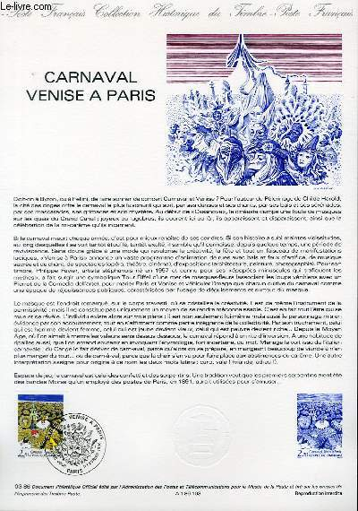 DOCUMENT PHILATELIQUE OFFICIEL N°03-86 - CARNAVAL VENISE A PARIS (N°2395 YVERT ET TELLIER)