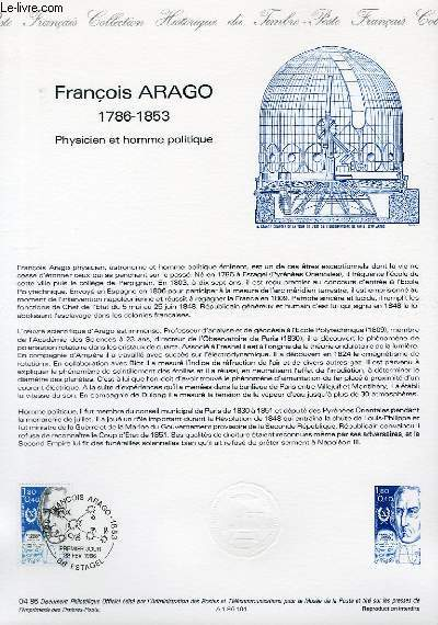 DOCUMENT PHILATELIQUE OFFICIEL N°04-86 - FRANCOIS ARAGO 1786-1853 - PHYSICIEN ET HOMME POLITIQUE (N°239 YVERT ET TELLIER)
