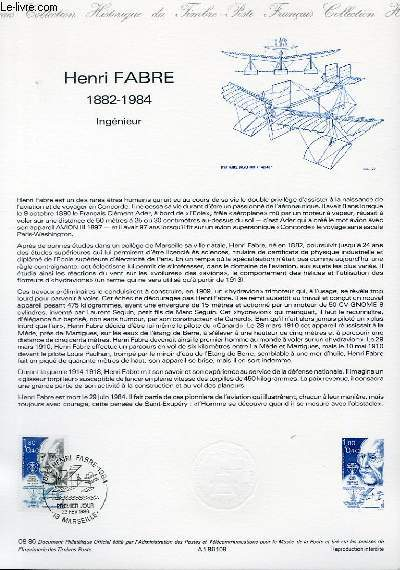 DOCUMENT PHILATELIQUE OFFICIEL N�08-86 - HENRI FAVRE 1882-1984 - INGENIEUR (N�2398 YVERT ET TELLIER)
