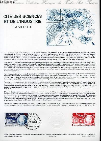 DOCUMENT PHILATELIQUE OFFICIEL N°13-86 - CITE DES SCIENCES ET DE L'INDUSTRIE - LA VILLETTE (N°2409 YVERT ET TELLIER)