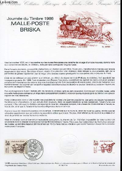 DOCUMENT PHILATELIQUE OFFICIEL N°14-86 - JOURNEE DU TIMBRE 1986 - MALLE-POSTE BRISKA (N°241 YVERT ET TELLIER)