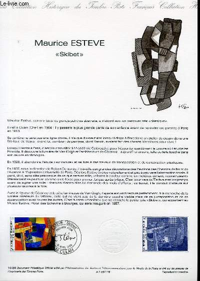 DOCUMENT PHILATELIQUE OFFICIEL N�16-86 - MAURICE ESTEVE