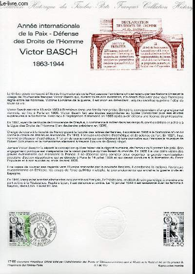 DOCUMENT PHILATELIQUE OFFICIEL N°17-86 - ANNEE INTERNATIONALE DE LA PAIX - DEFENSE DES DROITS DE L'HOMME VICTOR BASCH 1863-1944 (N°2415 YVERT ET TELLIER)