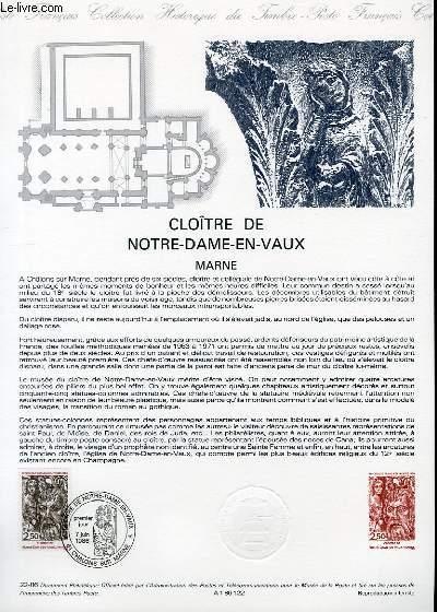 DOCUMENT PHILATELIQUE OFFICIEL N�22-86 - CLOITRE DE NOTRE DAME EN VAUX - MARNE (N�2404 YVERT ET TELLIER)