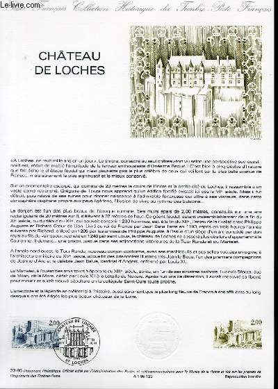 DOCUMENT PHILATELIQUE OFFICIEL N�23-86 - CHATEAU DE LOCHES (N�2402 YVERT ET TELLIER)