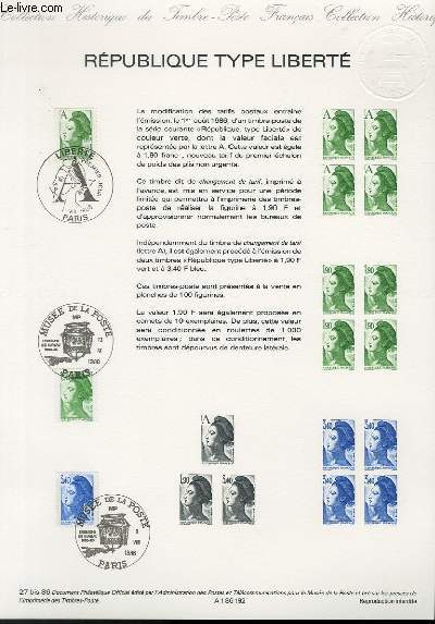 DOCUMENT PHILATELIQUE OFFICIEL N�27BIS-86 - REPUBLIQUE TYPE LIBERTE (N�2423 YVERT ET TELLIER)