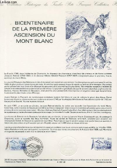 DOCUMENT PHILATELIQUE OFFICIEL N�28-86 - BICENTENAIRE DE LA PREMIERE ASCENSION DU MONT BLANC (N�2422  YVERT ET TELLIER)