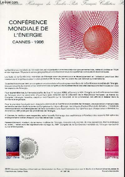 DOCUMENT PHILATELIQUE OFFICIEL N°38-86 - CONFERENCE MONDIALE DE L'ENERGIE - CANNES 1986 (N°2445 YVERT ET TELLIER)