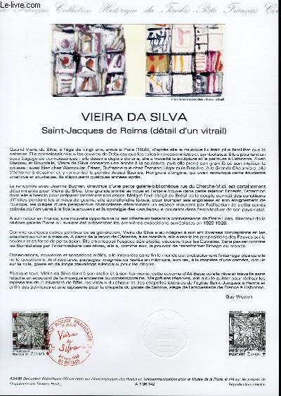 DOCUMENT PHILATELIQUE OFFICIEL N�42-86 - VIEIRA DA SILVA - SAINT JACQUES DE REIMS (DETAIL D'UN VITRAIL) (N�2449 YVERT ET TELLIER)