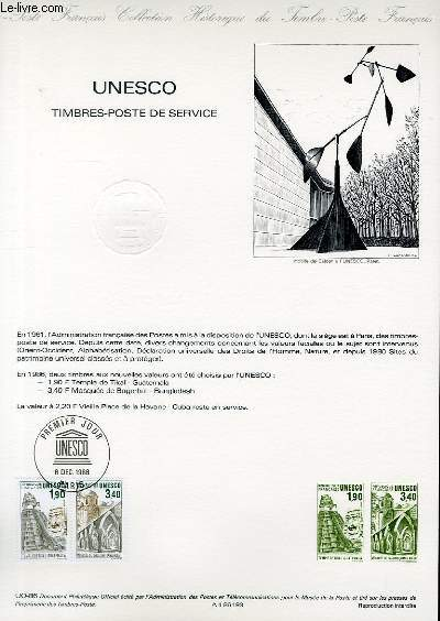 DOCUMENT PHILATELIQUE OFFICIEL N�UNESCO - TIMBRES-POSTE DE SERVICE (N�SERVICE 91-92 YVERT ET TELLIER)