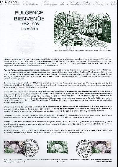 DOCUMENT PHILATELIQUE OFFICIEL N�02-87 - FULGENCE BIENVENUE 1852-1936 - LE METRO (N�2452 YVERT ET TELLIER)