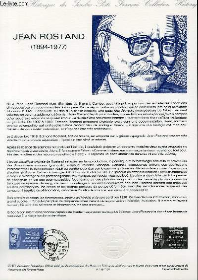 DOCUMENT PHILATELIQUE OFFICIEL N�07-87 - JEAN ROSTAND 1894-1977 (N�2458 YVERT ET TELLIER)
