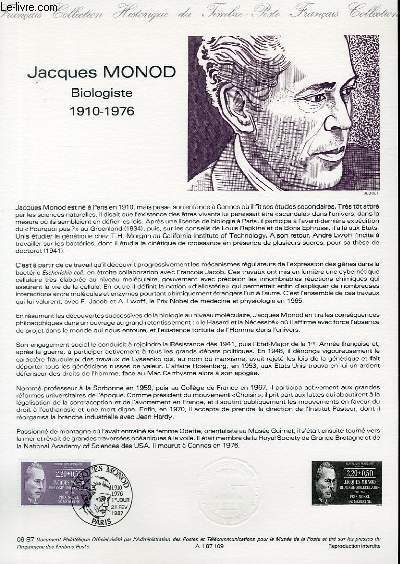 DOCUMENT PHILATELIQUE OFFICIEL N°09-87 - JACQUES MONOD - BIOLOGISTE 1910-1976 (N°2459 YVERT ET TELLIER)