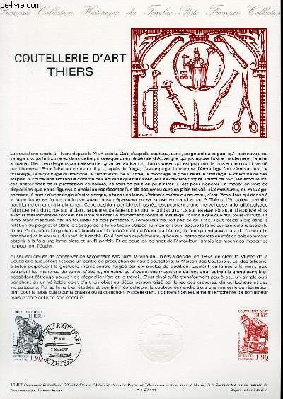 DOCUMENT PHILATELIQUE OFFICIEL N°11-87 - COUTELLERIE D'ART THIERS (N°2467 YVERT ET TELLIER)