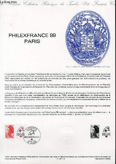 DOCUMENT PHILATELIQUE OFFICIEL N�12-87 - PHILEXFRANCE 89 PARIS (N�2461 YVERT ET TELLIER)
