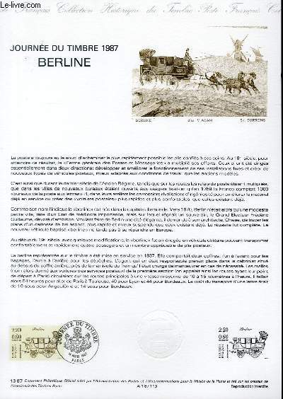 DOCUMENT PHILATELIQUE OFFICIEL N°13-87 - JOURNEE DU TIMBRE 1987 - BERLINE (N°2468 YVERT ET TELLIER)