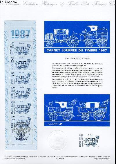 DOCUMENT PHILATELIQUE OFFICIEL N°13BIS-87 - CARNET JOURNEE DU TIMBRE 1987 (BANDE CARNET YVERT ET TELLIER)