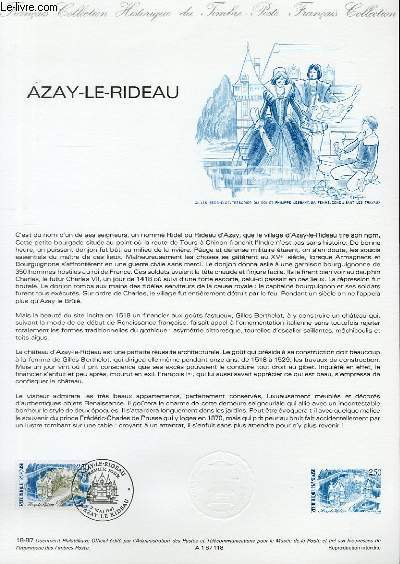 DOCUMENT PHILATELIQUE OFFICIEL N�18-87 - AZAY LE RIDEAU (N�2464 YVERT ET TELLIER)