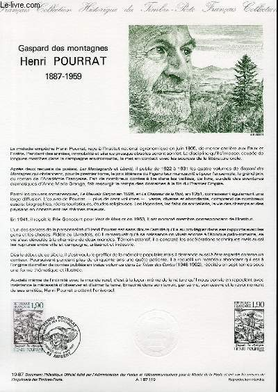 DOCUMENT PHILATELIQUE OFFICIEL N�19-87 - GASPARD DES MONTAGNES - HENRI POURRAT 1887-1959 (N�2475 YVERT ET TELLIER)