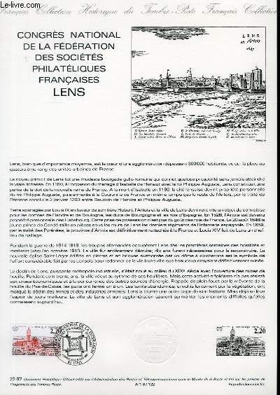 DOCUMENT PHILATELIQUE OFFICIEL N�22-87 - CONGRES NATIONAL DE LA FEDERATION DES SOCIETES PHILATELIQUES FRANCAISES - LENS (N�2476 YVERT ET TELLIER)