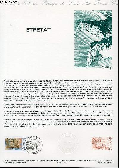DOCUMENT PHILATELIQUE OFFICIEL N�24-87 - ETRETAT (N�2463 YVERT ET TELLIER)