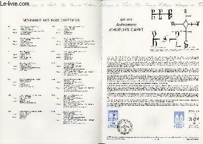 DOCUMENT PHILATELIQUE OFFICIEL N°25-87 - AVENEMENT D'HUGUES CAPET 987-1987 (N°2478 YVERT ET TELLIER)