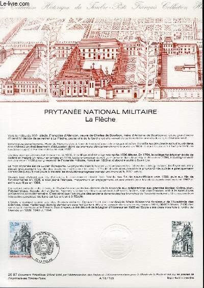 DOCUMENT PHILATELIQUE OFFICIEL N°26-87 - PRYTANEE NATIONAL MILITAIRE - LA FLECHE (N°2479 YVERT ET TELLIER)