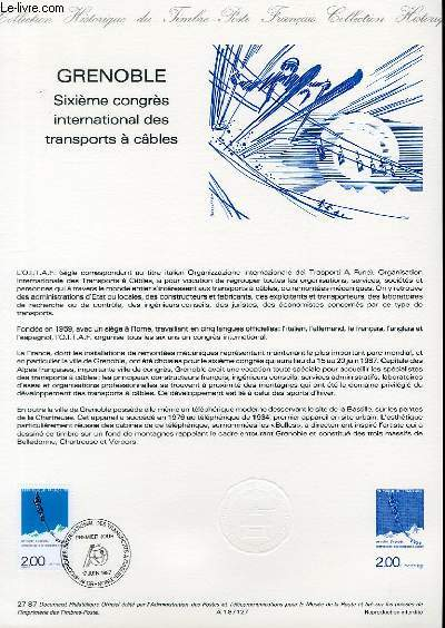DOCUMENT PHILATELIQUE OFFICIEL N°27-87 - GRENOBLE - 6° CONGRES INTERNATIONAL DES TRANSPORTS A CABLES (N°2463 YVERT ET TELLIER)