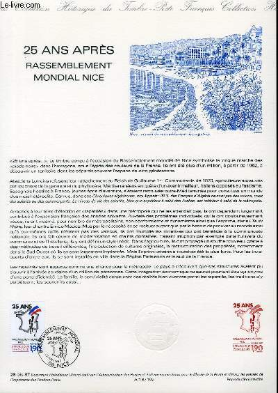 DOCUMENT PHILATELIQUE OFFICIEL N�28BIS-87 - 25 ANS APRES - RASSEMBLEMENT MONDIAL NICE (N�2481 YVERT ET TELLIER)