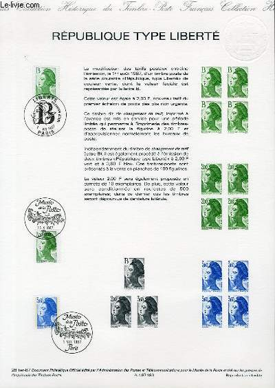 DOCUMENT PHILATELIQUE OFFICIEL N�28TER-87 - REPUBLIQUE TYPE LIBERTE (N�2483-4-5 YVERT ET TELLIER)