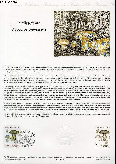 DOCUMENT PHILATELIQUE OFFICIEL N°30-87 - INDIGOTIER - GYROPORUS CYANESCENS (N°2488 YVERT ET TELLIER)