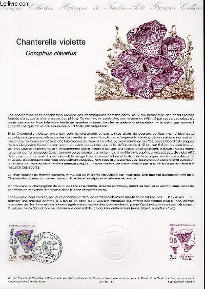 DOCUMENT PHILATELIQUE OFFICIEL N°31-87 - CHANTERELLE VIOLETTE - GOMPHUS CLAVATUS (N°2489 YVERT ET TELLIER)