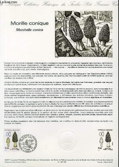 DOCUMENT PHILATELIQUE OFFICIEL N°32-87 - MORILLE CONIQUE - MORCHELLA CONICA (N°2490 YVERT ET TELLIER)