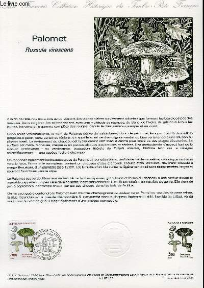 DOCUMENT PHILATELIQUE OFFICIEL N°33-87 - PALOMET - RUSSULA VIRESCENS (N°2491 YVERT ET TELLIER)