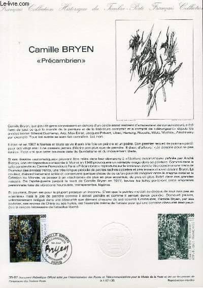 DOCUMENT PHILATELIQUE OFFICIEL N°35-87 - CAMILLE BRYEN -PRECAMBRIEN (N°2493 YVERT ET TELLIER)