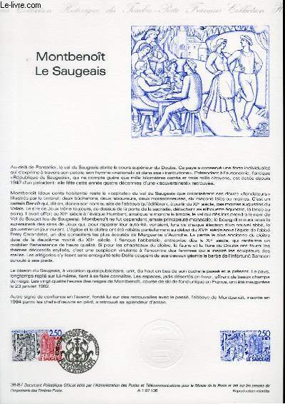 DOCUMENT PHILATELIQUE OFFICIEL N°36-87 - MONTBENOIT LE SAUGEAIS (N°2495 YVERT ET TELLIER)