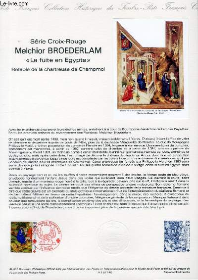 DOCUMENT PHILATELIQUE OFFICIEL N°40-87 - SERIE CROIX ROUGE - MELCHIOR BROEDERLAM