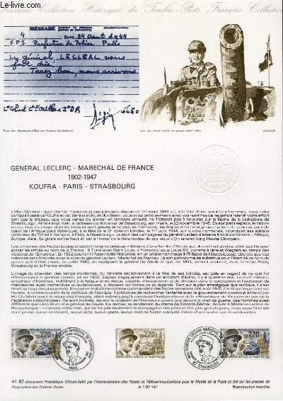 DOCUMENT PHILATELIQUE OFFICIEL N°41-87 - GENERAL LECLERC - MARECHAL DE FRANCE 1902-1947 - KOUFRA - PARIS - STRASBOURG (N°2499 YVERT ET TELLIER)