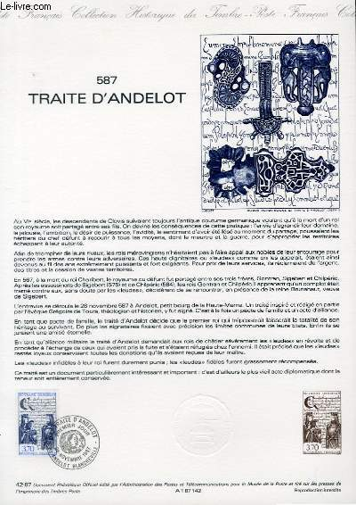 DOCUMENT PHILATELIQUE OFFICIEL N�42-87 - 587 TRAITE D'ANDELOT (N�2500 YVERT ET TELLIER)