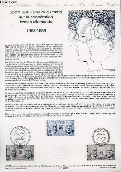 DOCUMENT PHILATELIQUE OFFICIEL N°01-88 - 25° ANNIVERSAIRE DU TRAITE SUR LA COOPERATION FRANCO-ALLEMANDE 1963-1988 (N°2501 YVERT ET TELLIER)