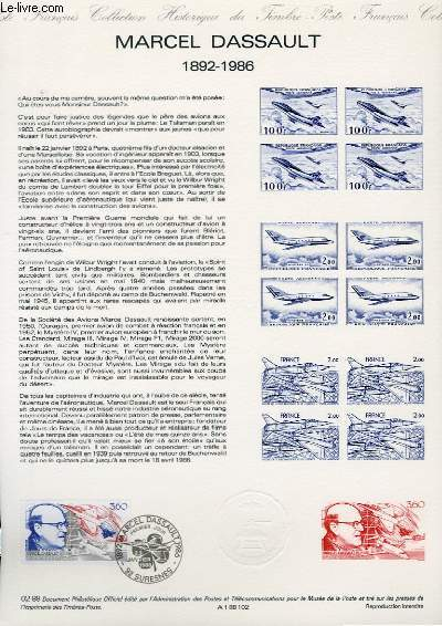 DOCUMENT PHILATELIQUE OFFICIEL N°02-88 - MARCEL DASSAULT - 1892-1986 (N°2502 YVERT ET TELLIER)