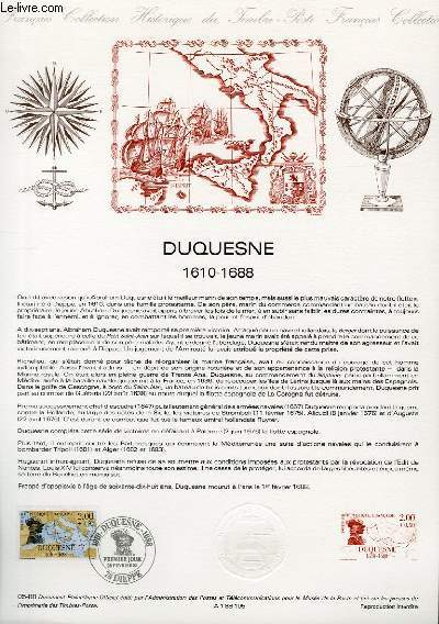 DOCUMENT PHILATELIQUE OFFICIEL N°05-88 - DUQUESNE 1610-1688 (N°2517 YVERT ET TELLIER)