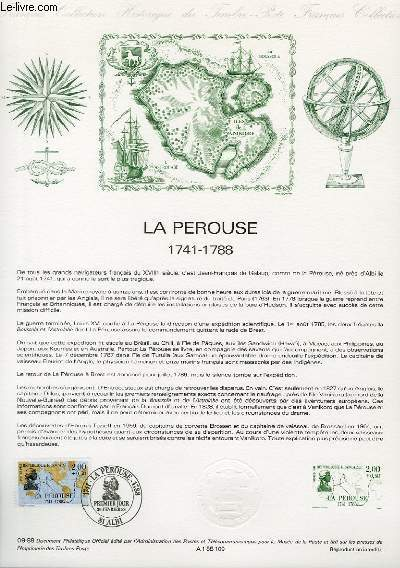 DOCUMENT PHILATELIQUE OFFICIEL N�09-88 - LA PEROUSE 1741-1788 (N�2519 YVERT ET TELLIER)