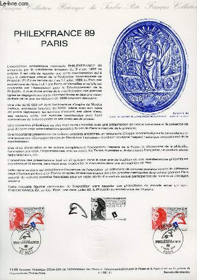 DOCUMENT PHILATELIQUE OFFICIEL N�11-88 - PHILEXFRANCE 89 PARIS (N�2524 YVERT ET TELLIER)