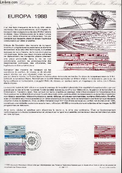 DOCUMENT PHILATELIQUE OFFICIEL N�17-88 - EUROPA 1988 (N�2531-32 YVERT ET TELLIER)