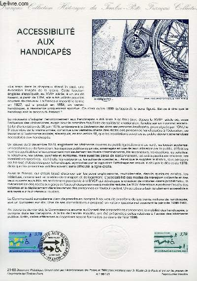 DOCUMENT PHILATELIQUE OFFICIEL N°21-88 - ACCESSIBILITE AUX HANDICAPES (N°2536 YVERT ET TELLIER)