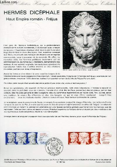 DOCUMENT PHILATELIQUE OFFICIEL N°22-88 - HERMES DICEPHALE - HAUT EMPIRE ROMAIN - FREJUS (N°2548 YVERT ET TELLIER)