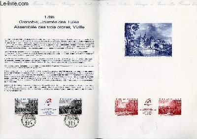 DOCUMENT PHILATELIQUE OFFICIEL N°23-88 - 1788 GRENOBLE, JOURNEE DES TUILES ASSEMBLEE DES TROIS ORDRES, VIZILLE (N°2537A YVERT ET TELLIER)